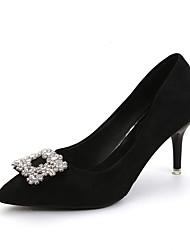 Для женщин Обувь на каблуках С Т-образной перепонкой Полиуретан Весна Повседневные Для вечеринки / ужина С Т-образной перепонкой БусиныНа