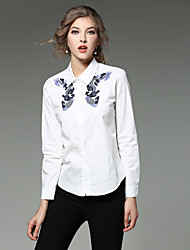 Women's Casual/Daily Work Simple Street chic Spring Fall Shirt,Embroidered Shirt Collar Long Sleeve White Cotton Medium