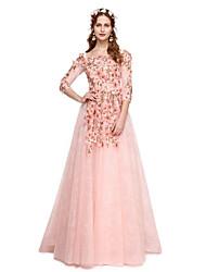 Prom formal vestido de noite - elegante uma linha de cintas de espaguete varrer / cetim treinar rendas tule com apliques plissados