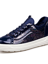 Men's Sneakers shoes Spring Fall Winter Comfort Patent Leather Outdoor Office & Career Casual Flat Heel Black/Grey/Blue