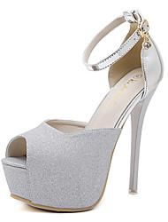 High Heels-Kleid-PU-Stöckelabsatz-Club-Schuhe-Silber Gold