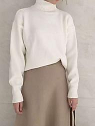 2016 nuevo ocio minimalista color caramelo caliente grueso cuello alto de cobertura de las mujeres coreanas de manga larga jersey de punto