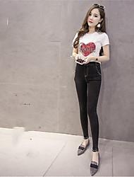 49 Sign spot price control over diamond pattern elastic waist jeans spring new Korean Leggings