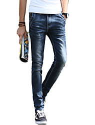 Men's Slim Jeans PantsCasual/Daily Simple Solid Mid Rise Button Cotton Polyester Micro-elastic All Seasons MG-Y606