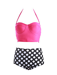 Women's Push-up/Wireless High Rise/Dot Bandeau Bikinis (Polyester)
