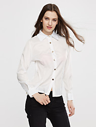Women's Solid Pink / White / Green Blouse , Shirt Collar Long Sleeve