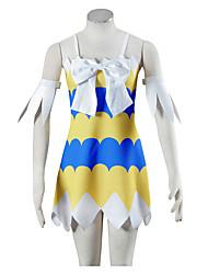 Inspirado por Fairy Tail Cosplay Animé Disfraces de cosplay Trajes Cosplay Vestidos Estampado Amarillo Sin MangasVestido Brazalete
