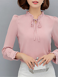 Women's Going out Casual/Daily Work Street chic Spring Blouse,Solid Stand Long Sleeve Polyester Opaque