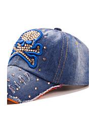 Women Skull Head Rhinestones Washed Cowboy Casual Baseball Cap