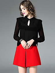 Women's Going out Street chic Spring Blouse,Patchwork Shirt Collar Long Sleeve White Black Silk Thin