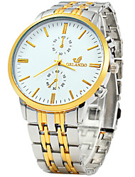 Men's Dress Watch Fashion Watch Quartz / Stainless Steel Band Vintage Casual White Gold White