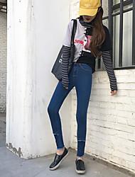 Sign # calça jeans cintura fina feminina calça ondulação coreano maré estiramento selvagens pés lápis calças