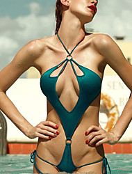 Women's Sexy Halter One-piece Swimwear Solid Rope Elegant Nylon Green/Royal Blue/Purple