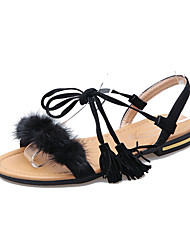 Women's Sandals Comfort PU Spring Summer Casual Dress Comfort Braided Strap Low Heel White Black Ruby Under 1in