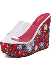 Damen-Sandalen-Lässig-Silica Gel-Keilabsatz-Komfort-Grün Rosa Rot