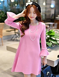Women's Sophisticated Cute Simple Going out/Casual/Daily/Holiday Sweater Dress Solid A Line Sheath Ruched