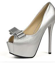Damen-High Heels-Kleid-PU-StöckelabsatzSchwarz Silber