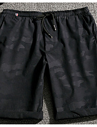 Men's Mid Rise Micro-elastic Active Shorts Sweatpants Pants,Simple Active Straight Camouflage