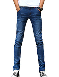 Men's Slim Jeans PantsCasual/Daily Simple Solid Mid Rise Button Cotton Polyester Micro-elastic All Seasons DG-2086