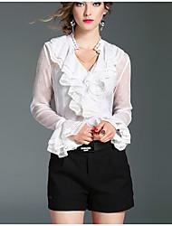 Women's Work Simple Shirt,Solid V Neck Long Sleeve Pink White Black Silk