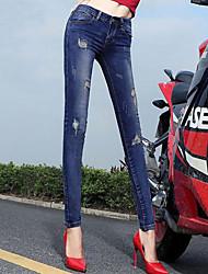 Damen Gerade Skinny Jeans Hose-Lässig/Alltäglich Einfach einfarbig Ripped Mittlere Hüfthöhe Reisverschluss Baumwolle Micro-elastisch