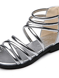 Sandals Spring Summer Fall Gladiator Flower Girl Shoes PU Outdoor Athletic Casual Low Heel Black Silver Gold Walking