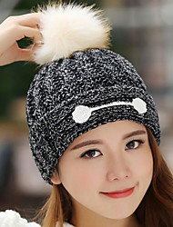 Women Winter Stretch Smiling Face Printing Knitting Warm Mixed Wool Peaked Cap
