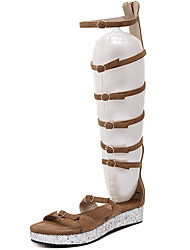 gladiador sandálias de verão pu ocasional fivela calcanhar plana