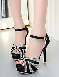 Heels Summer Club Shoes PU Dress Stiletto Heel Rhinestone Black Silver
