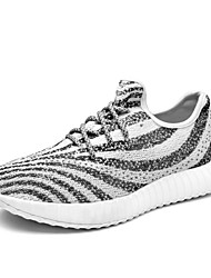 Men's Sneakers Shoes Spring Summer Light Soles Fabric Athletic Flat Heel Lace-up Zebra Black Running Shoes