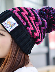 Women Winter Casual Curling People Print Leather Stripes Wool Knitted Printed Woolen Hat