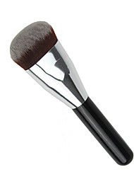 1pcs Foundation Brush Synthetic Hair Travel Type Portable Black Wood Handle for Face Brush