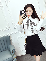 Sign Korean Institute of wind shirt + fashion bow embroidery Slim fishtail skirt suit Nett