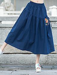 die neue nationale Wind Faltenröcke literarischen Put auf einem großen Baumwollkleid Kleid in einem Wort gestickt