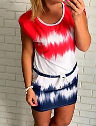 Для женщин На каждый день Уличный стиль Оболочка Платье Контрастных цветов,Круглый вырез Мини С короткими рукавами Красный Полиэстер Лето