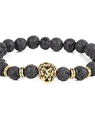 2017 New Natural Lion Black Lava Stone Bracelets Balance Beads Bracelet for Men Women Stretch Yoga Jewelry