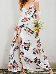 Women's Beach Holiday Vintage Swing Dress,Floral Strap Maxi Short Sleeve Polyester Spring Summer High Rise Micro-elastic Thin