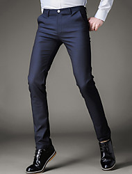 Men's Slim Business Trousers Work Simple Solid Mid Rise Zipper Button Elasticity Cotton Linen Micro-elastic All Seasons