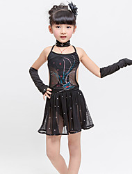 Children's Latin Dance Dress Performance Polyester/Spandex Rhinestone 4 Pieces Sleeveless Bracelets Neckwear Black Kid's Dancewear