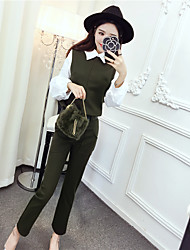 Sign the big hit color stitching hedging shirt + pants feet piece fitted with belt