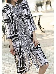 Women's Casual/Daily Simple Shirt,Print Round Neck Long Sleeve Black Silk