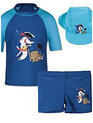 2017 Shark 2Pcs Set Short Sleeves  Rash Guards Swimsuits UPF 50 UV Protective Swimwear Sunblock for 9M-3.5Y