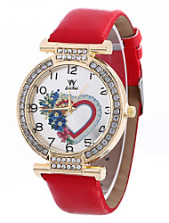 Women's Fashion Analog Stripe Ladies' Flower Heart Shape Display Strap Bohemia Quartz Wrist Watch