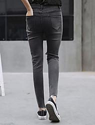 firmare nuovi jeans a vita alta coreana piedi femminili era sottile pantaloni matita buco marea