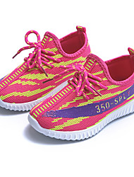 New Design Girl's Sneakers Light Soles Tulle Athletic Shoes Casual Flat Heel Lace-up Red / Fuchsia Running Shoes
