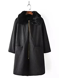 Manteau Femme,Couleur Pleine Sortie simple Manche Longues Col châle Repasser à l'envers Coton Long Printemps