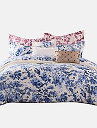 turqua aguarela 4pcs conjunto azul 100% algodão clássico cama conjunto de tampa incluindo edredão caso cachecol folha plana fronha