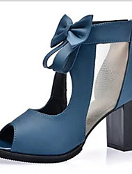 Women's Heels T-Strap PU Spring Summer Casual T-Strap Bowknot Chunky Heel Black Blue 4in-4 3/4in