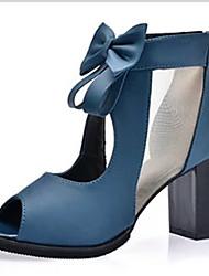 High Heels-Lässig-PU-Blockabsatz-T-Riemen-Schwarz Blau