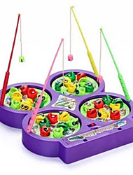 Educational Toy Singing Fishing Toy Magnetic Four Disk Rotation Leisure Hobby Toys Novelty Fish Plastic Rainbow For Boys For Girls